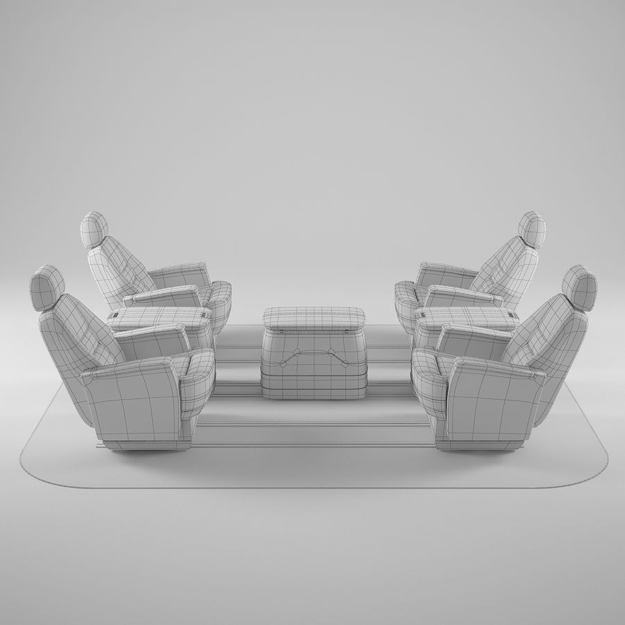Flugzeug-Business-Sitze royalty-free 3d model - Preview no. 7