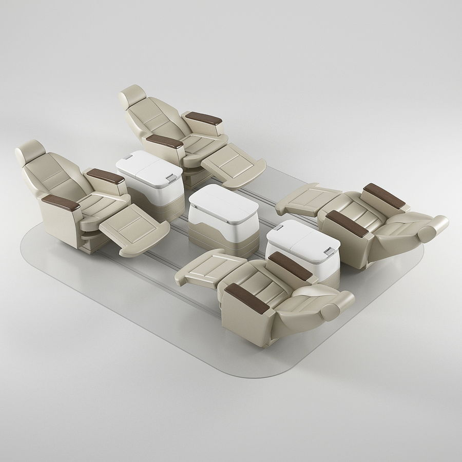 Flugzeug-Business-Sitze royalty-free 3d model - Preview no. 3