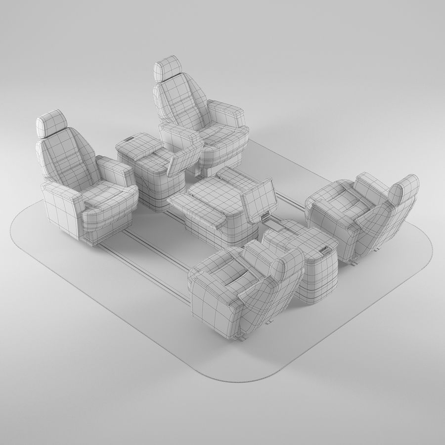 Flugzeug-Business-Sitze royalty-free 3d model - Preview no. 8