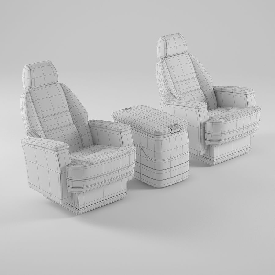 Flugzeug-Business-Sitze royalty-free 3d model - Preview no. 11