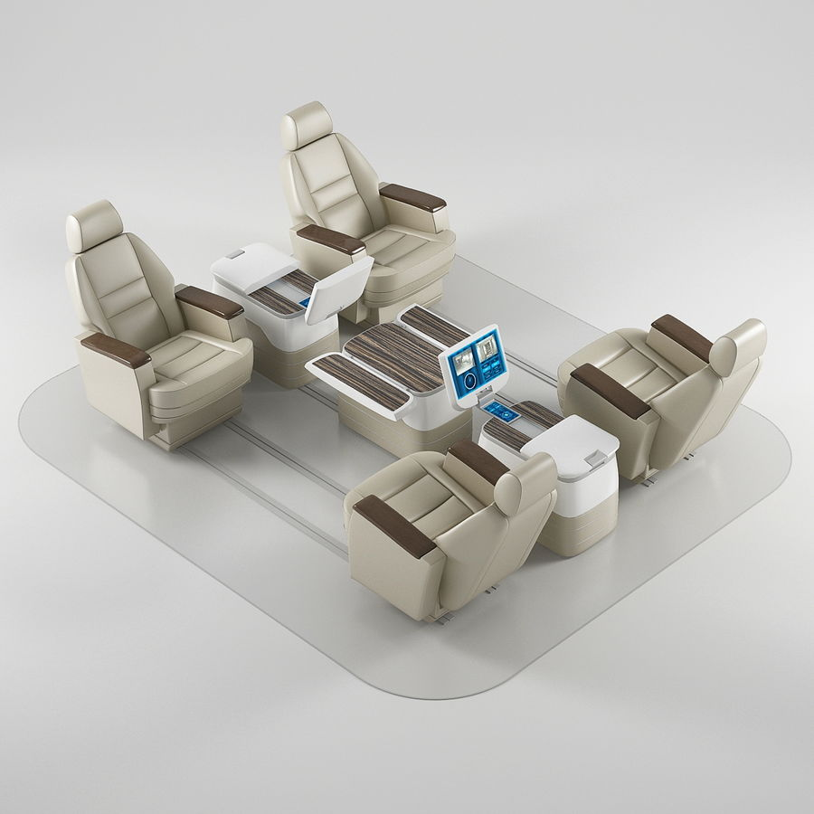 Flugzeug-Business-Sitze royalty-free 3d model - Preview no. 2