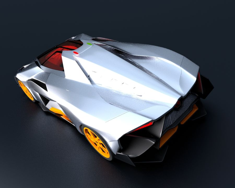 Lamborghini Egoista royalty-free 3d model - Preview no. 7