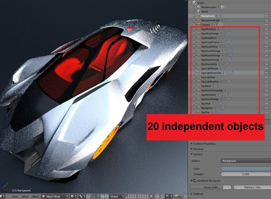 Lamborghini Egoista royalty-free 3d model - Preview no. 32