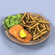 Pescado y papas fritas modelo 3d