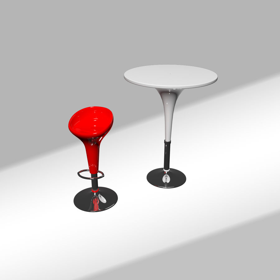 Bombo barkruk met tafel royalty-free 3d model - Preview no. 2