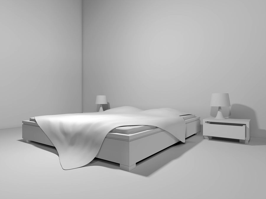 letto con comodini royalty-free 3d model - Preview no. 3