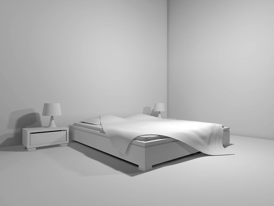 letto con comodini royalty-free 3d model - Preview no. 2