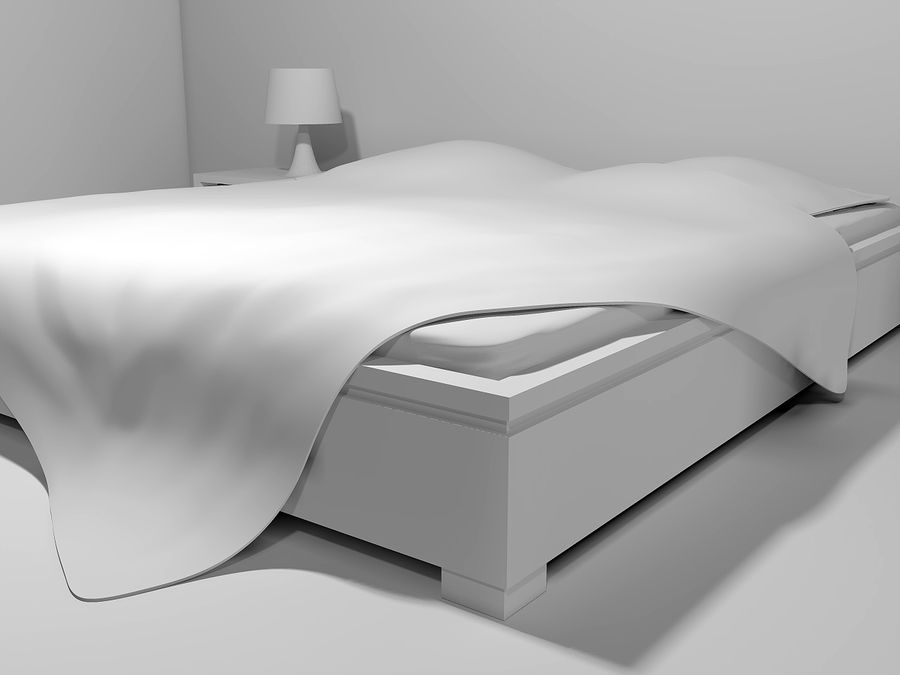 letto con comodini royalty-free 3d model - Preview no. 4