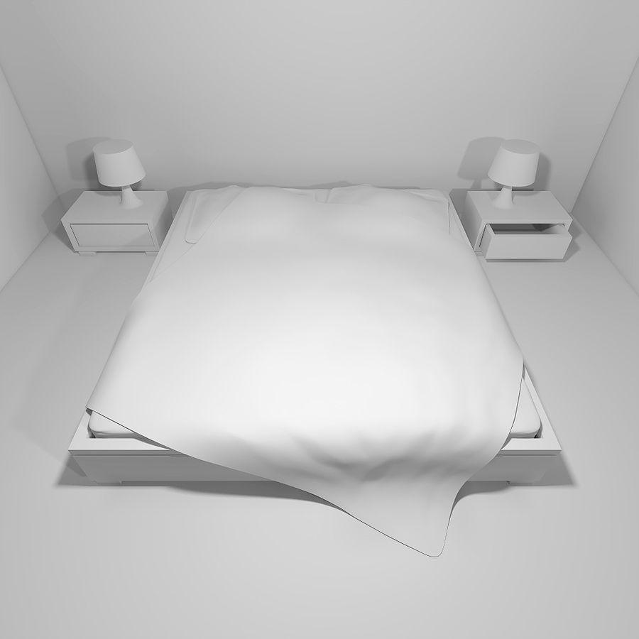 Bett mit Nachttischen royalty-free 3d model - Preview no. 5
