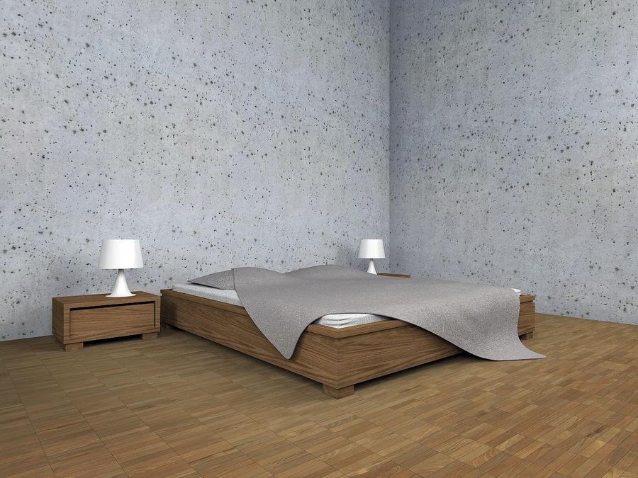 Bett mit Nachttischen royalty-free 3d model - Preview no. 1