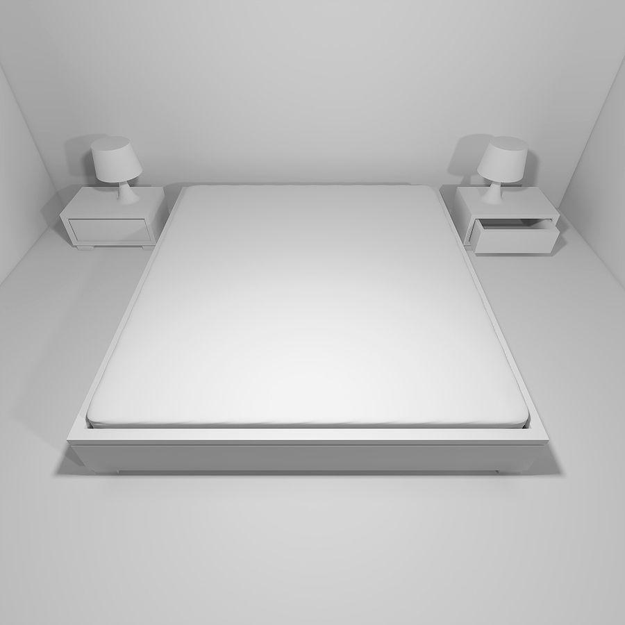 Bett mit Nachttischen royalty-free 3d model - Preview no. 6