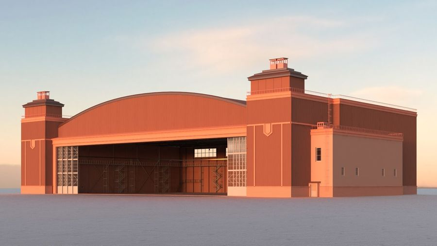 Airplane Hangar royalty-free 3d model - Preview no. 6