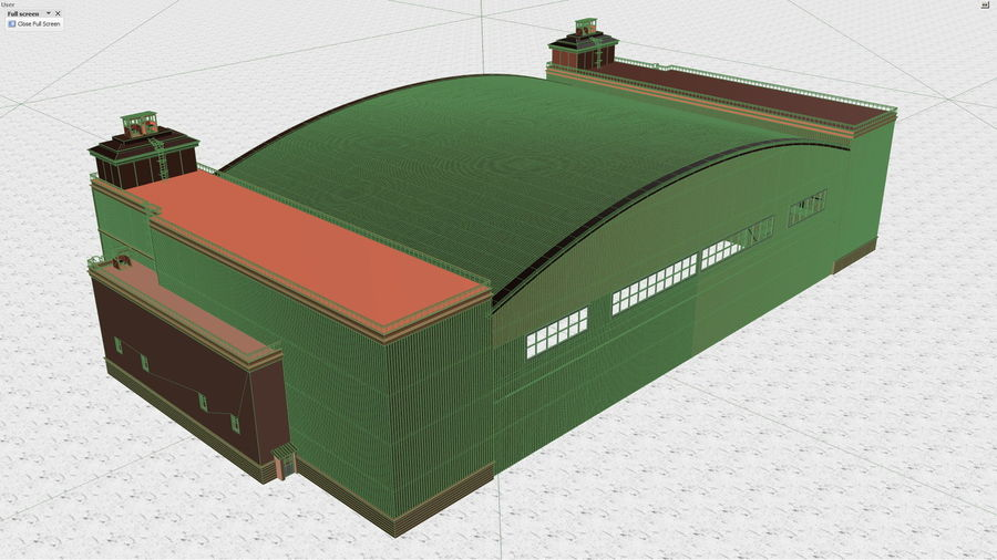 Airplane Hangar royalty-free 3d model - Preview no. 10