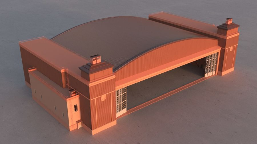 Airplane Hangar royalty-free 3d model - Preview no. 5