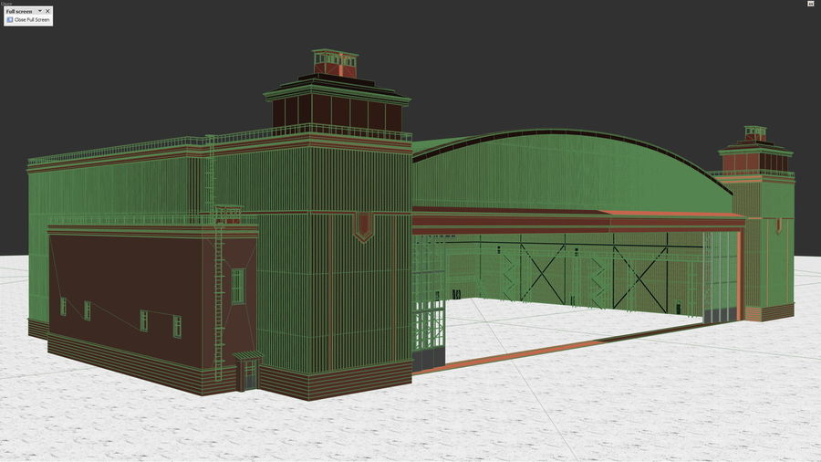 Airplane Hangar royalty-free 3d model - Preview no. 7