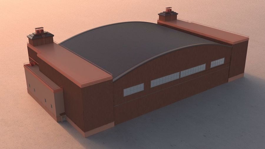 Airplane Hangar royalty-free 3d model - Preview no. 3