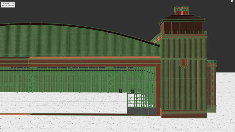 Airplane Hangar royalty-free 3d model - Preview no. 8