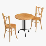 Stolik kawowy i drewniane krzesła 3d model