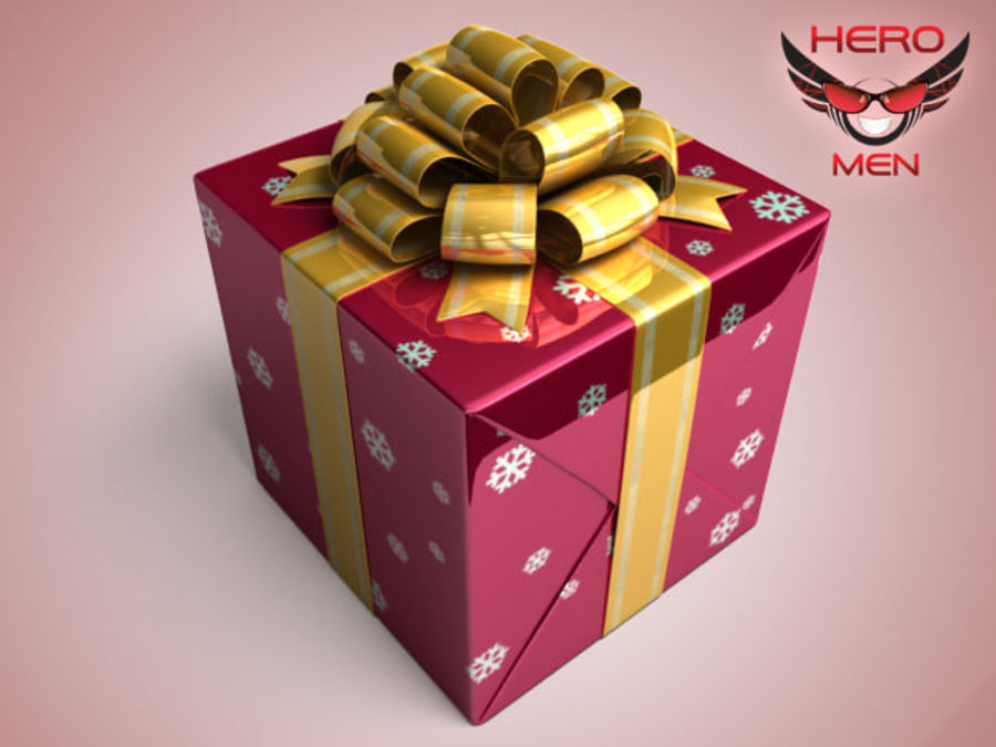 Geschenkbox Rot royalty-free 3d model - Preview no. 2