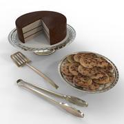 Gâteau et biscuits sur des plateaux de service 3d model
