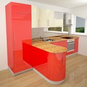 Rött färg modernt kök 3d model