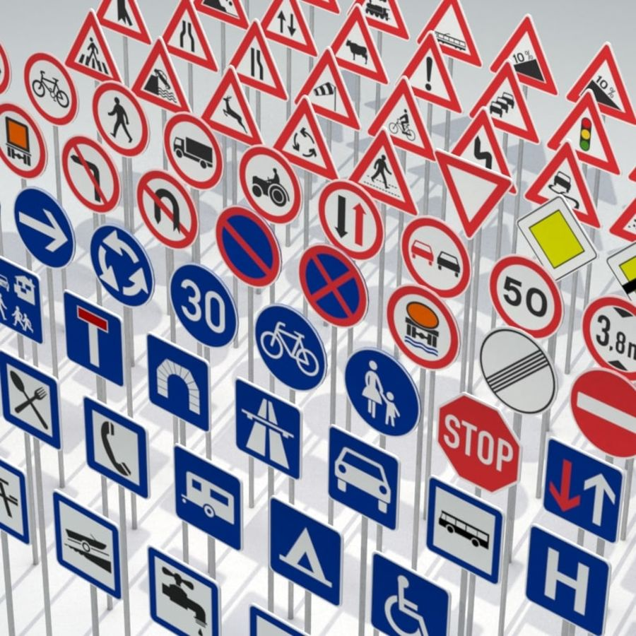 Panneaux de signalisation royalty-free 3d model - Preview no. 3