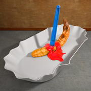 Stabbed French Fries with Ketchup Blood and Plate 3d model
