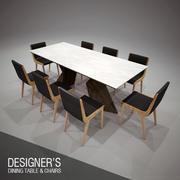 Mesa de comedor y sillas modelo 3d