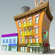 Budynek Cartoon Downtown 3d model