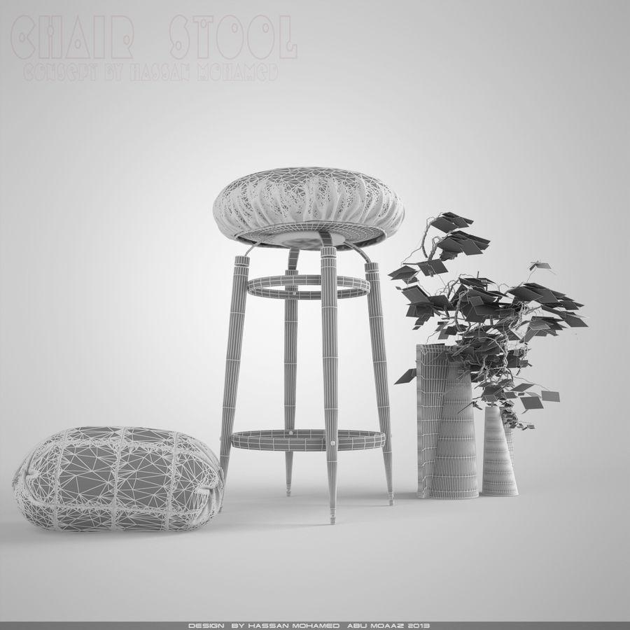 Krzesło Stołek royalty-free 3d model - Preview no. 7
