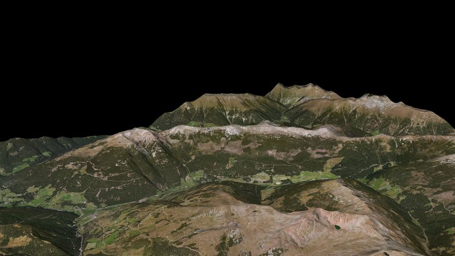 Alpine mountains royalty-free 3d model - Preview no. 3