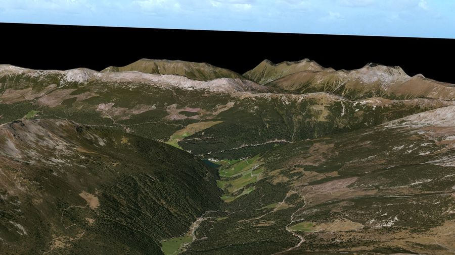 Alpine mountains royalty-free 3d model - Preview no. 7