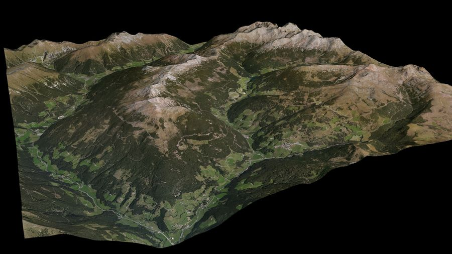 Alpine mountains royalty-free 3d model - Preview no. 2