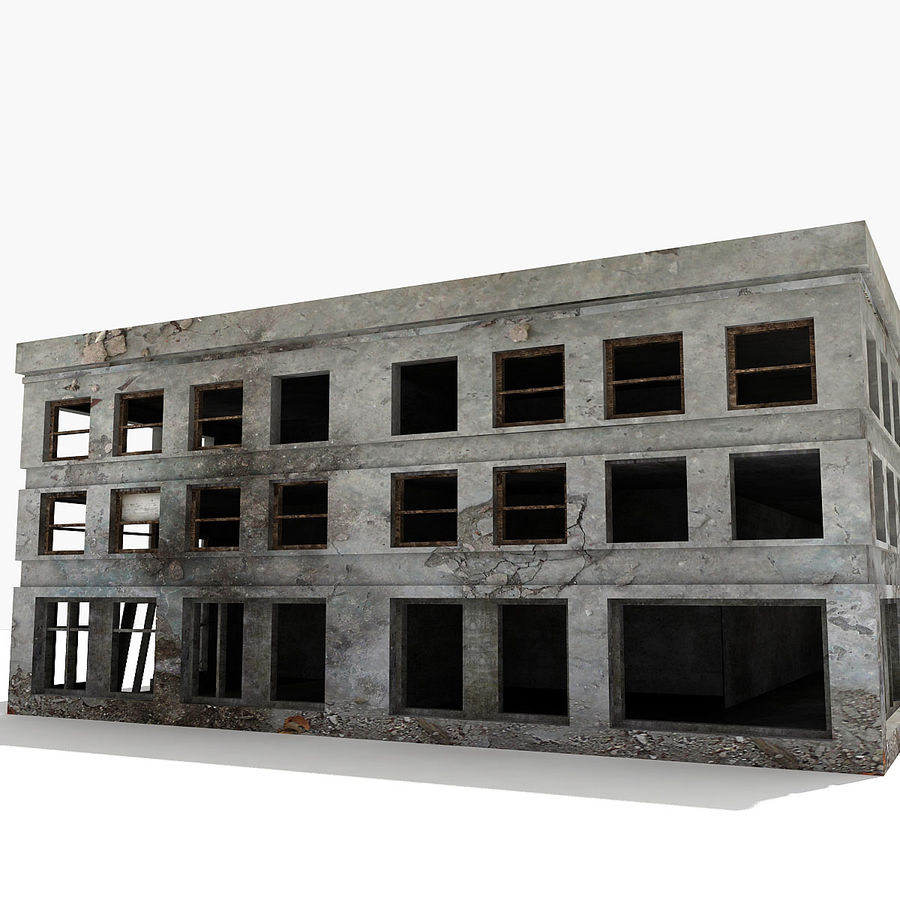 Ruined Building Destroyed royalty-free 3d model - Preview no. 4