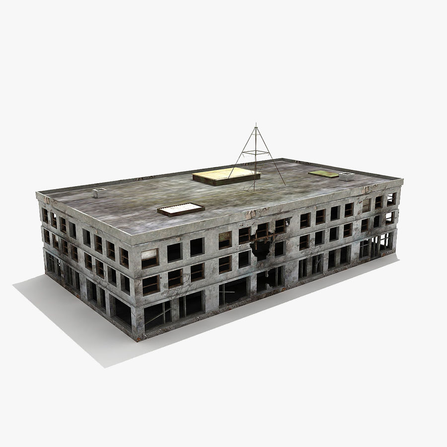 Ruined Building Destroyed royalty-free 3d model - Preview no. 2