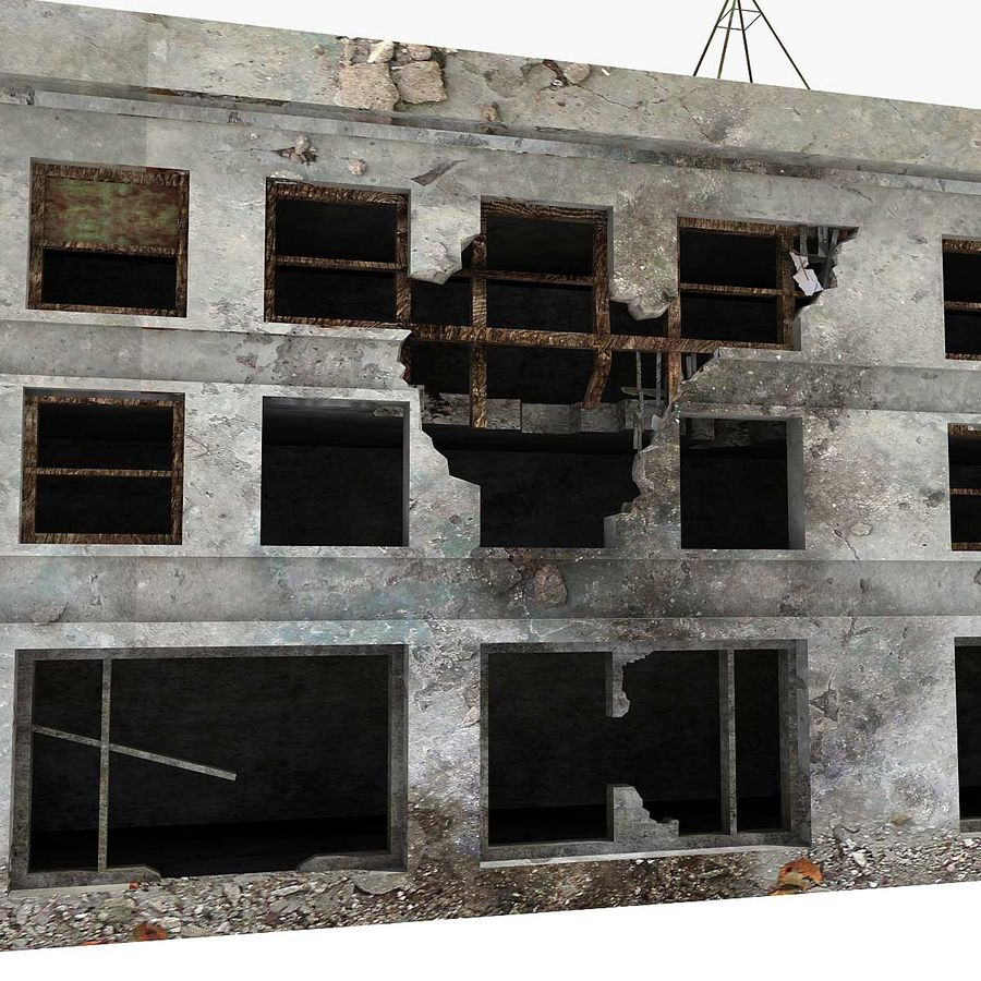 Ruined Building Destroyed royalty-free 3d model - Preview no. 6