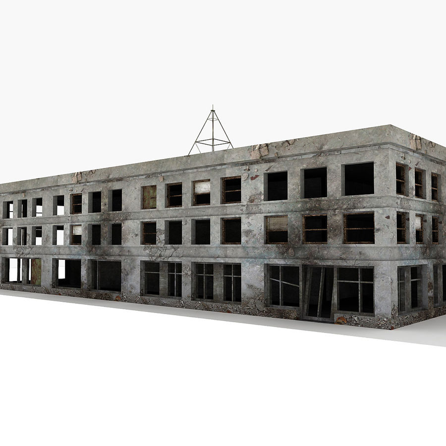 Ruined Building Destroyed royalty-free 3d model - Preview no. 3