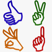 Icon Hand Gesture Collection 3d model