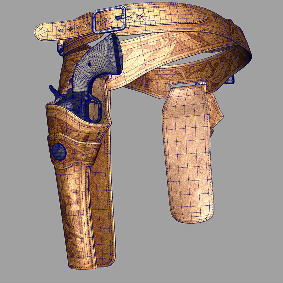 Holsters Met Revolvers royalty-free 3d model - Preview no. 1