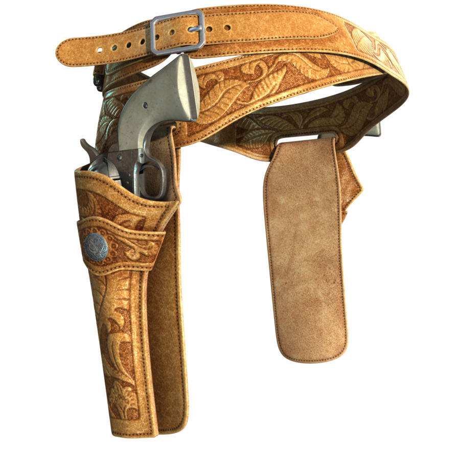 Holsters Met Revolvers royalty-free 3d model - Preview no. 9