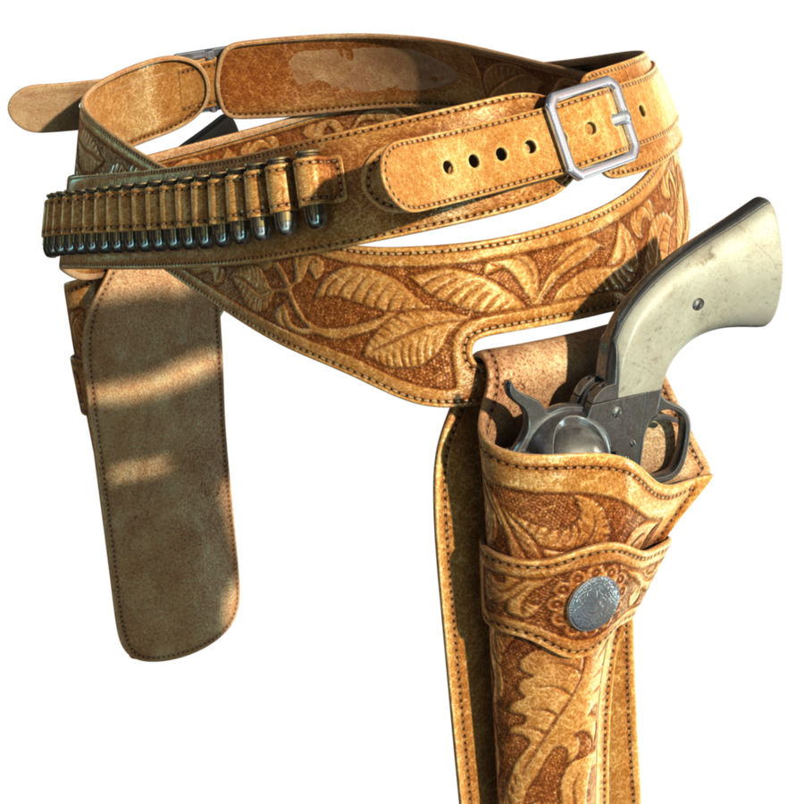 Holsters Met Revolvers royalty-free 3d model - Preview no. 7