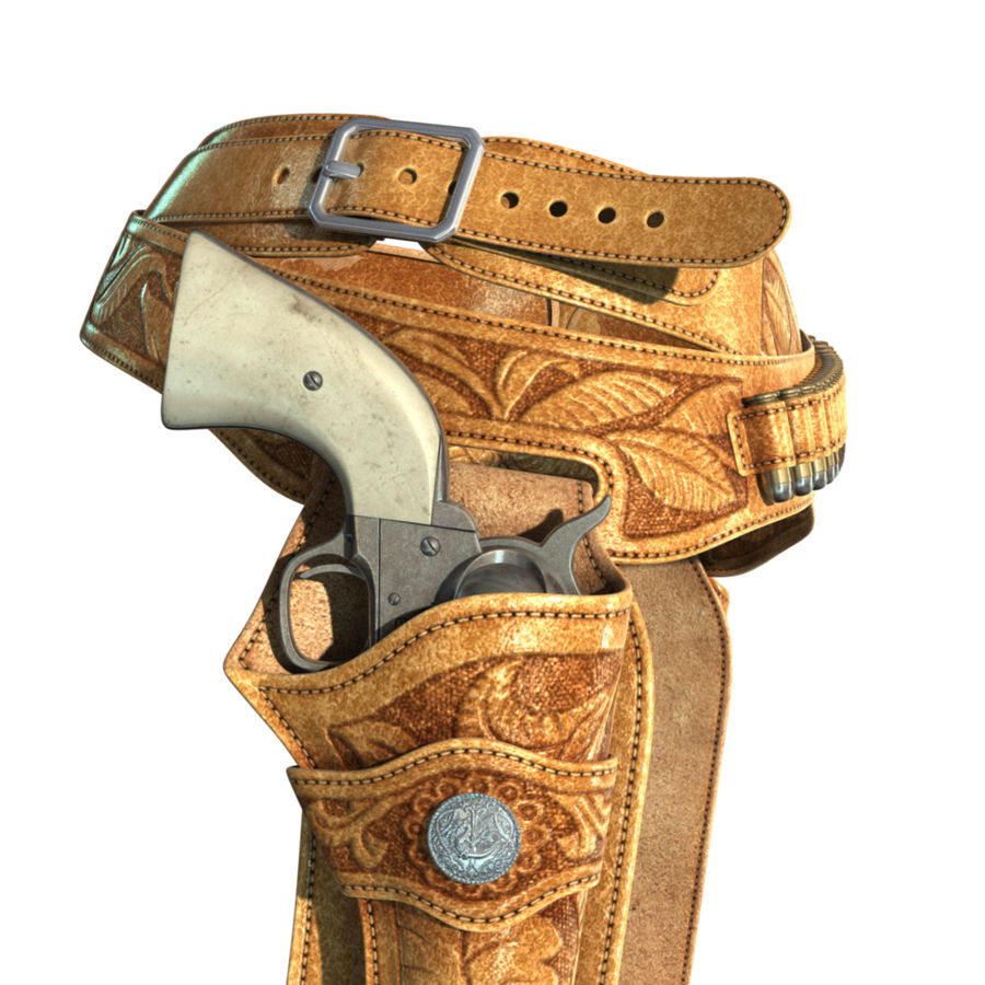 Holsters Met Revolvers royalty-free 3d model - Preview no. 4
