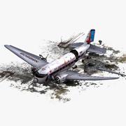 DC-3 Plane Air Crash 3d model