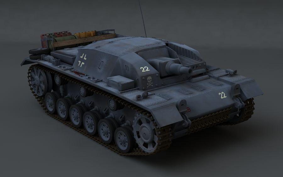 Sturmgeschütz III Второй мировой войны немецкий танк royalty-free 3d model - Preview no. 2