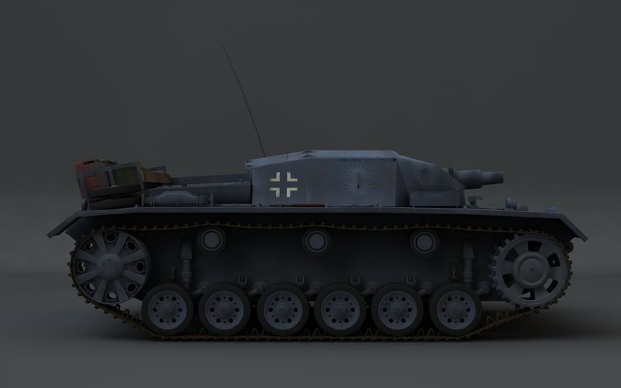 Sturmgeschütz III Второй мировой войны немецкий танк royalty-free 3d model - Preview no. 6