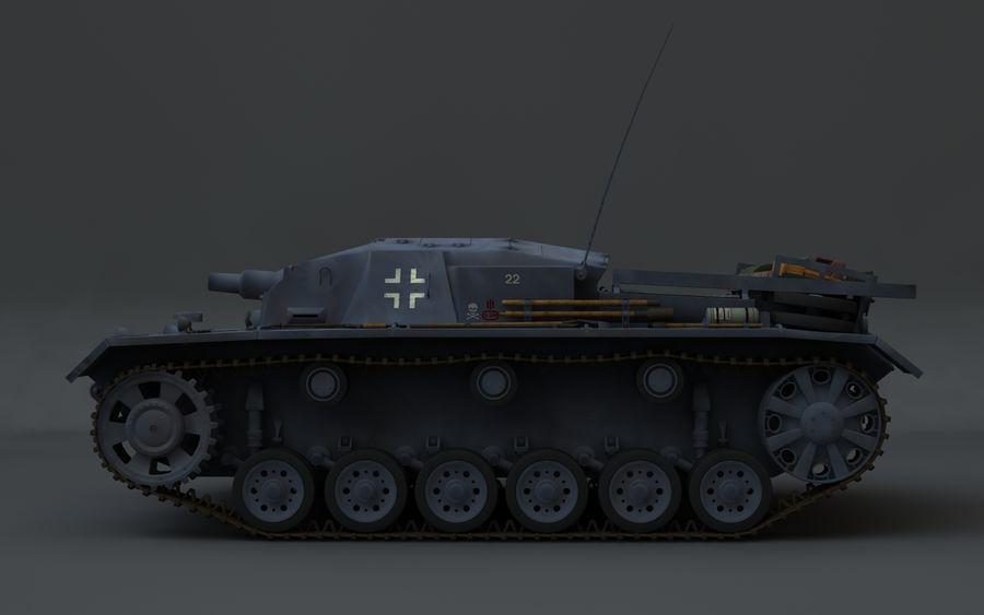 Sturmgeschütz III Второй мировой войны немецкий танк royalty-free 3d model - Preview no. 5