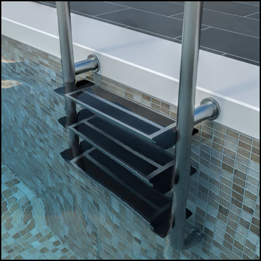 Swimming Pool Ladder Steps royalty-free 3d model - Preview no. 4
