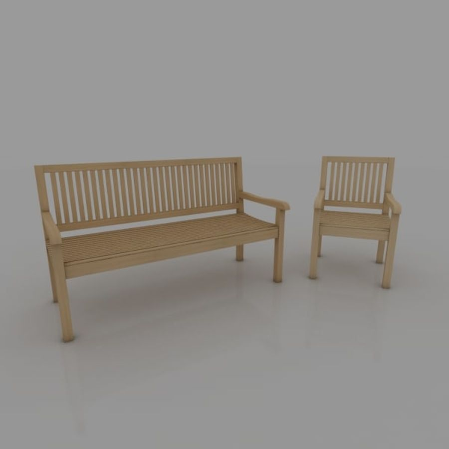 Bench and Armchair royalty-free 3d model - Preview no. 1
