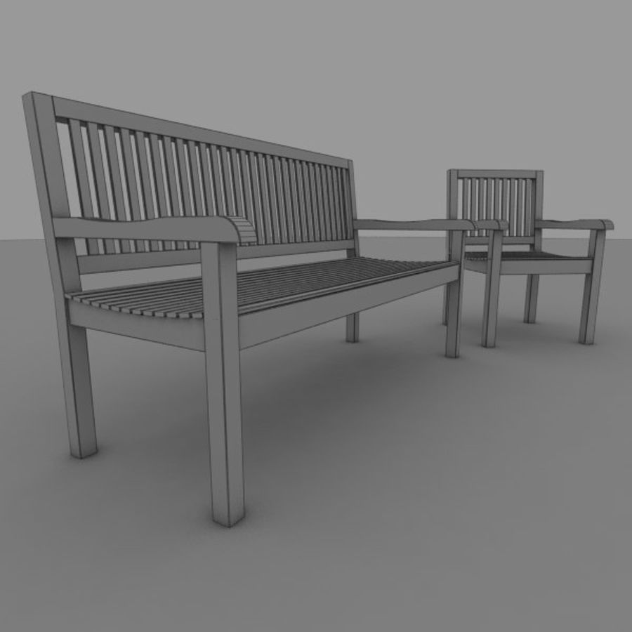 Bench and Armchair royalty-free 3d model - Preview no. 5