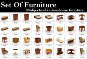 Modelo 3d conjunto de muebles 33 objetos. modelo 3d
